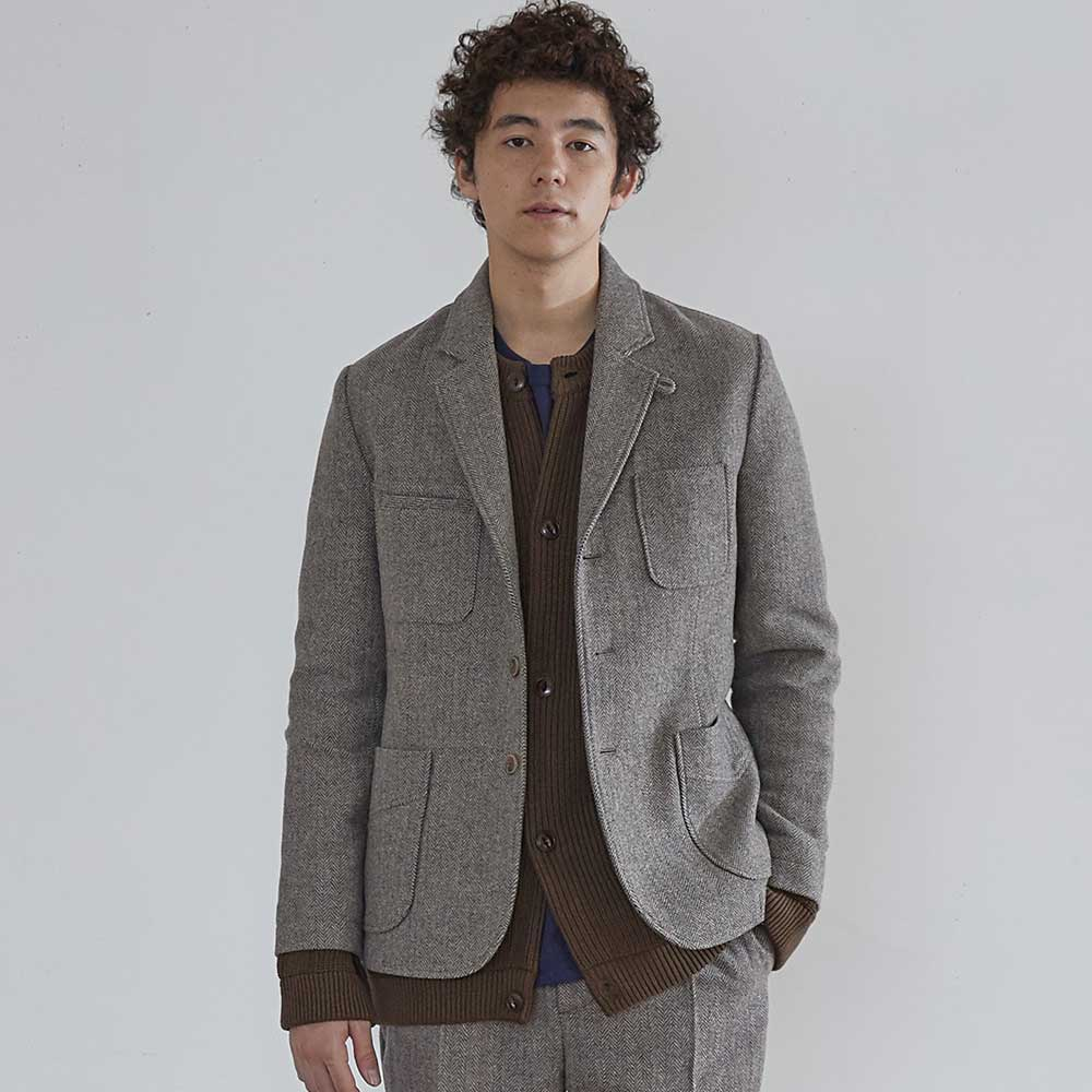 HORLISUNAustin 4 Pocket Herringbone Jacket(Melange Grey)