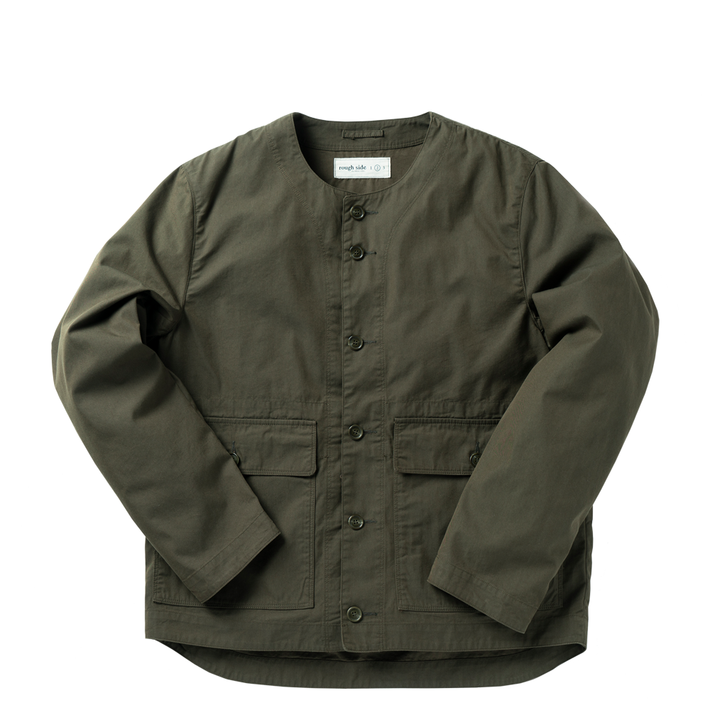 ROUGH SIDECollarless Jacket(Olive)30% Off