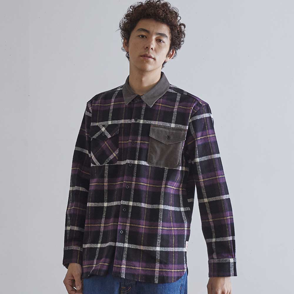 HORLISUNFairview Flannel Check Shirts(Purple/Black)