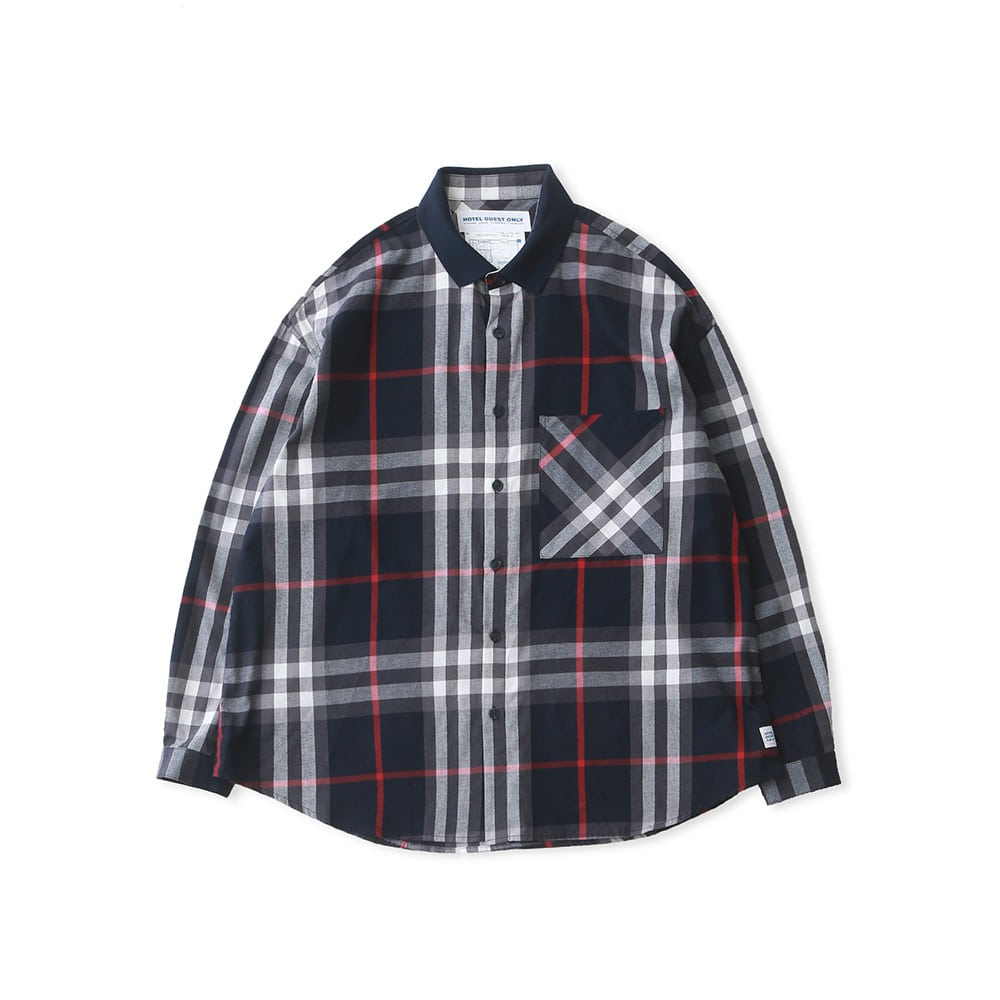 DAILY INNLobby Boy Sports Collar Flannel Oversized Shirt(Navy Check)20% off