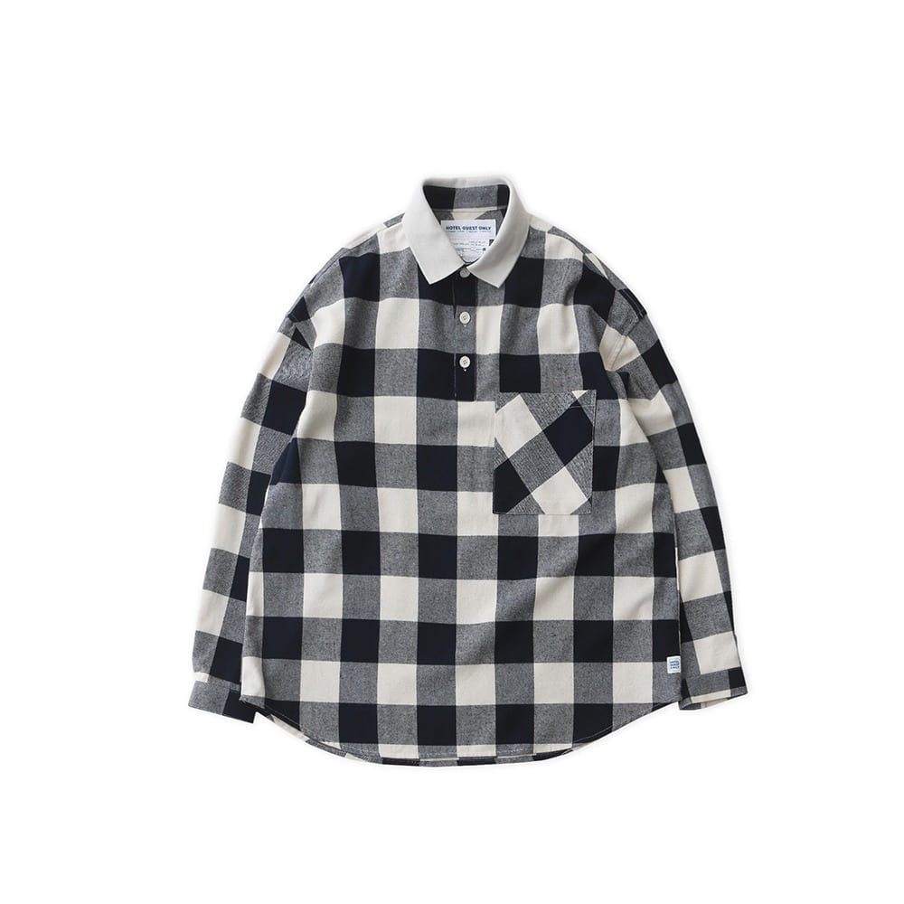 DAILY INNLobby Boy Pique Flannel Oversized Shirt(Buffalo Navy)20% off