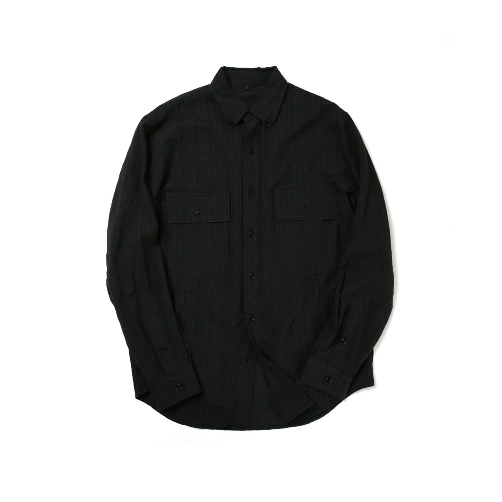 BALLUTE2 Pocket Tuxedo B.D Shirt(Black Gingham)30% Off