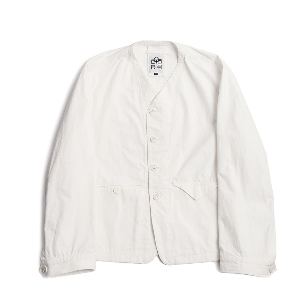 POLYTERUWashed Collarless Jacket(Cream White)
