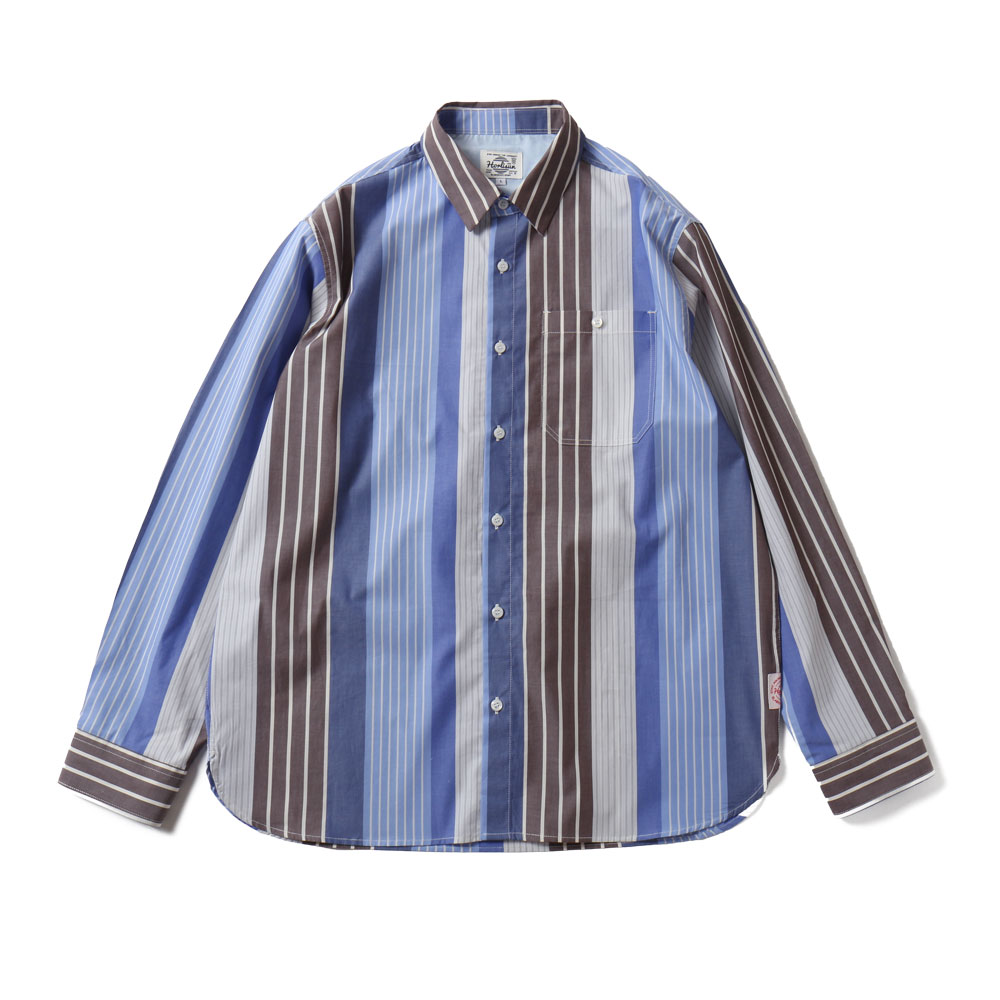 HORLISUNOsborne Multi Stripe Shirts(Blue Grey)
