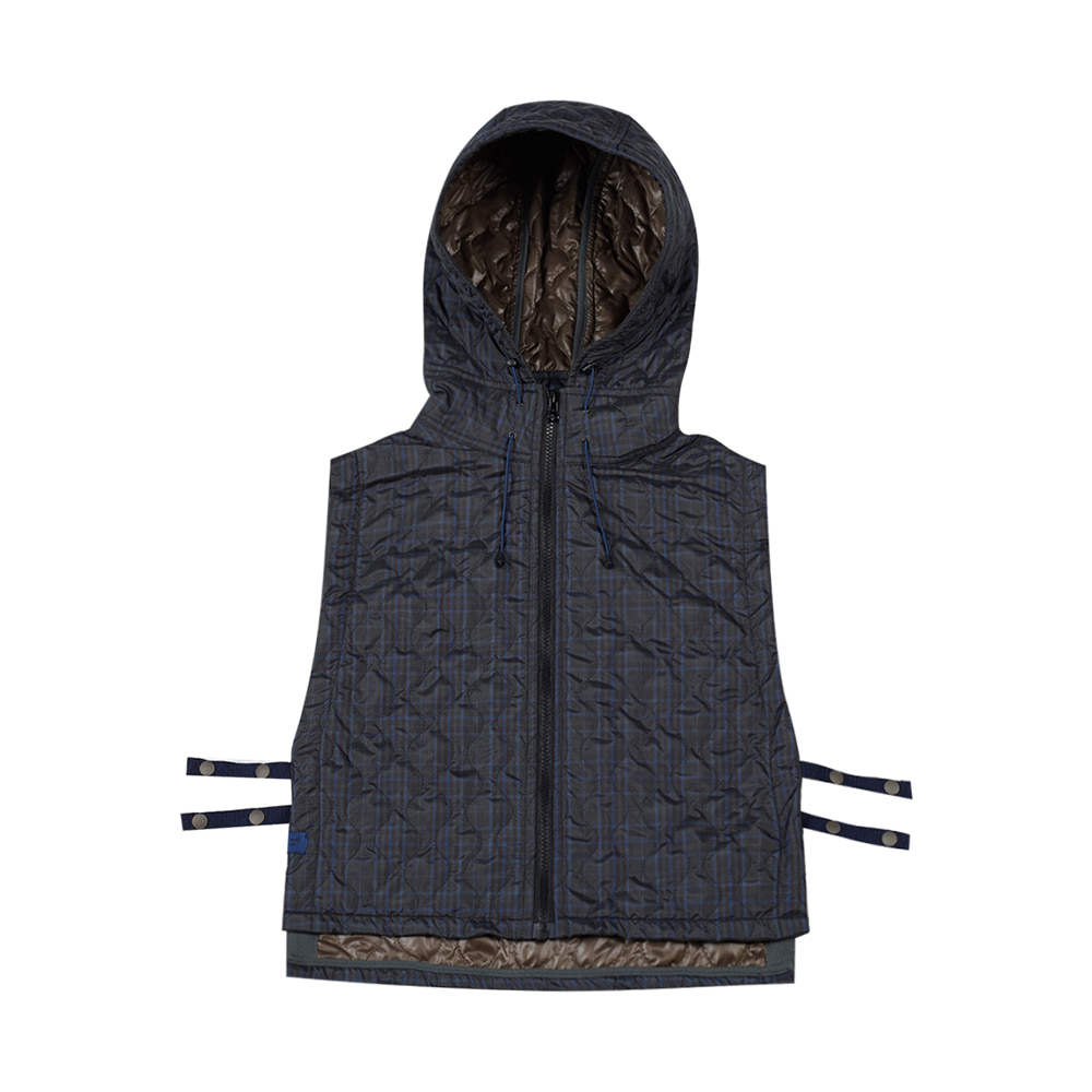 TOEQuilted Hoodie Vest(Navy Check)20% Off