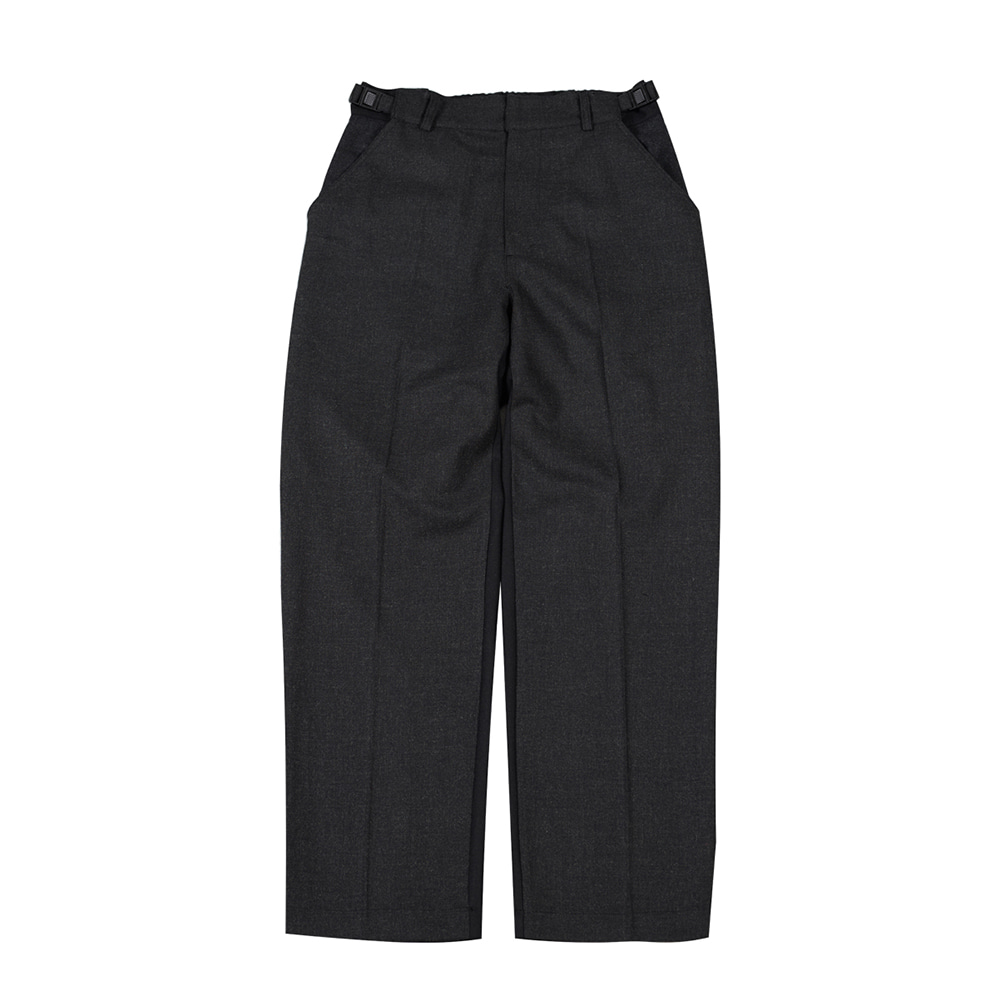 TOEUnisex Buckle Wool Slacks(Charcoal/Black)