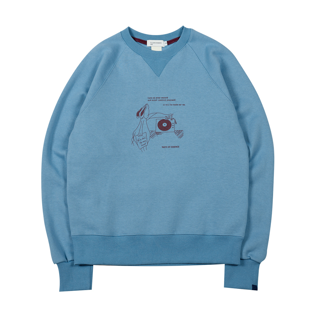 TOEHare Printed Sweat Shirt(Dusty Blue)