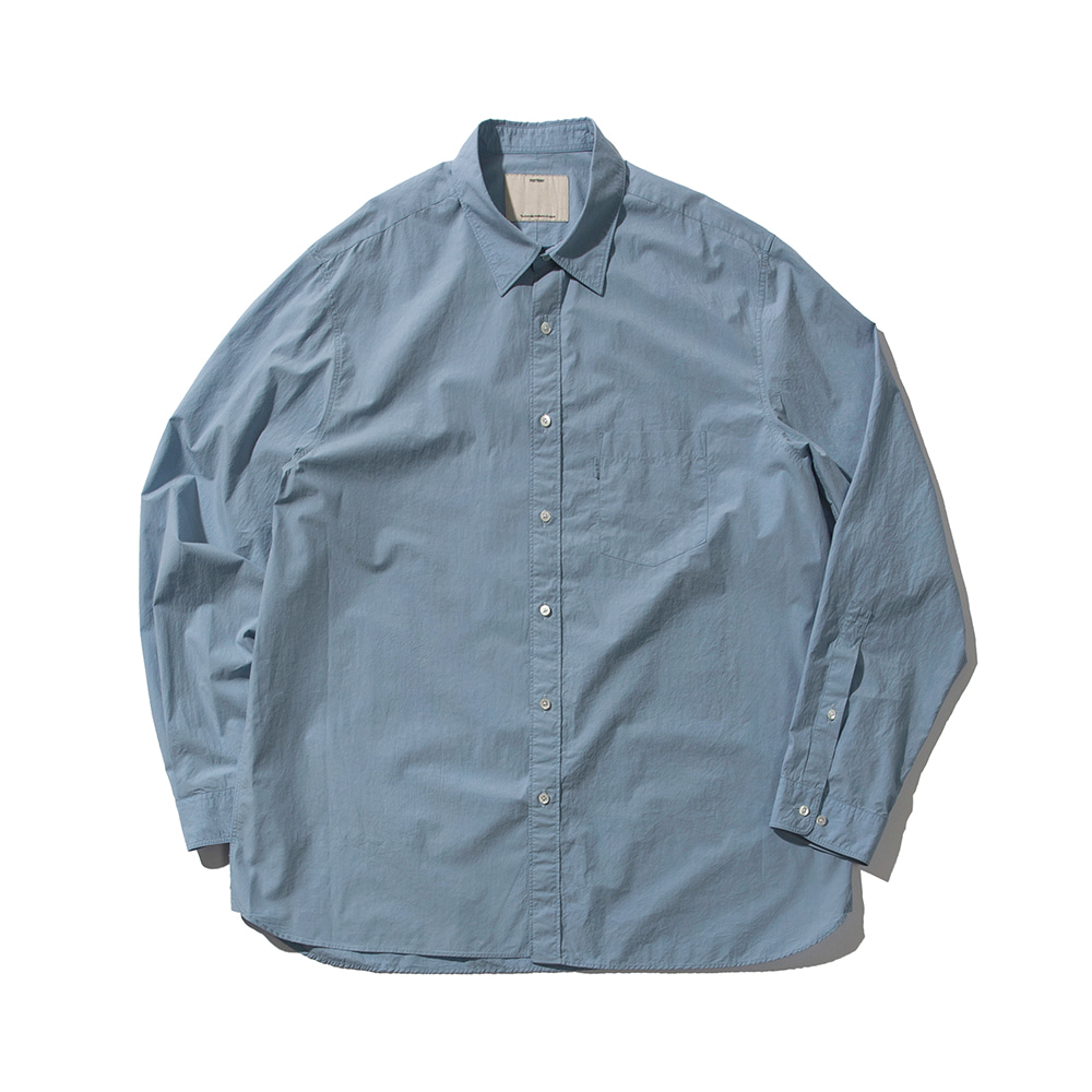 POTTERYComfort ShirtCotton 80/1 Typewriter Cloth Resilient Finish(Blue)