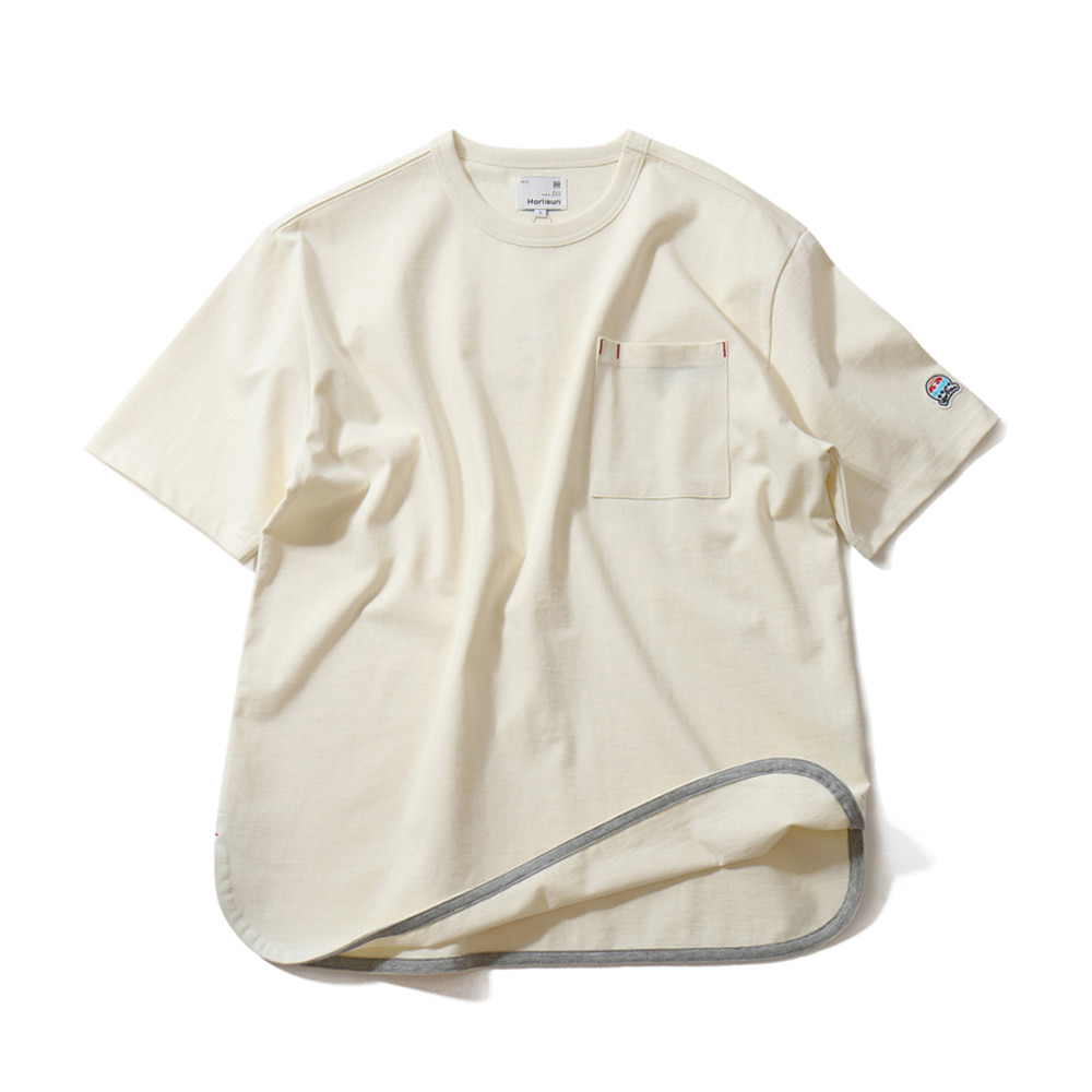 HORLISUN x TEXT SLNCUnisex Emery Short Sleeve Pocket T(Off White)