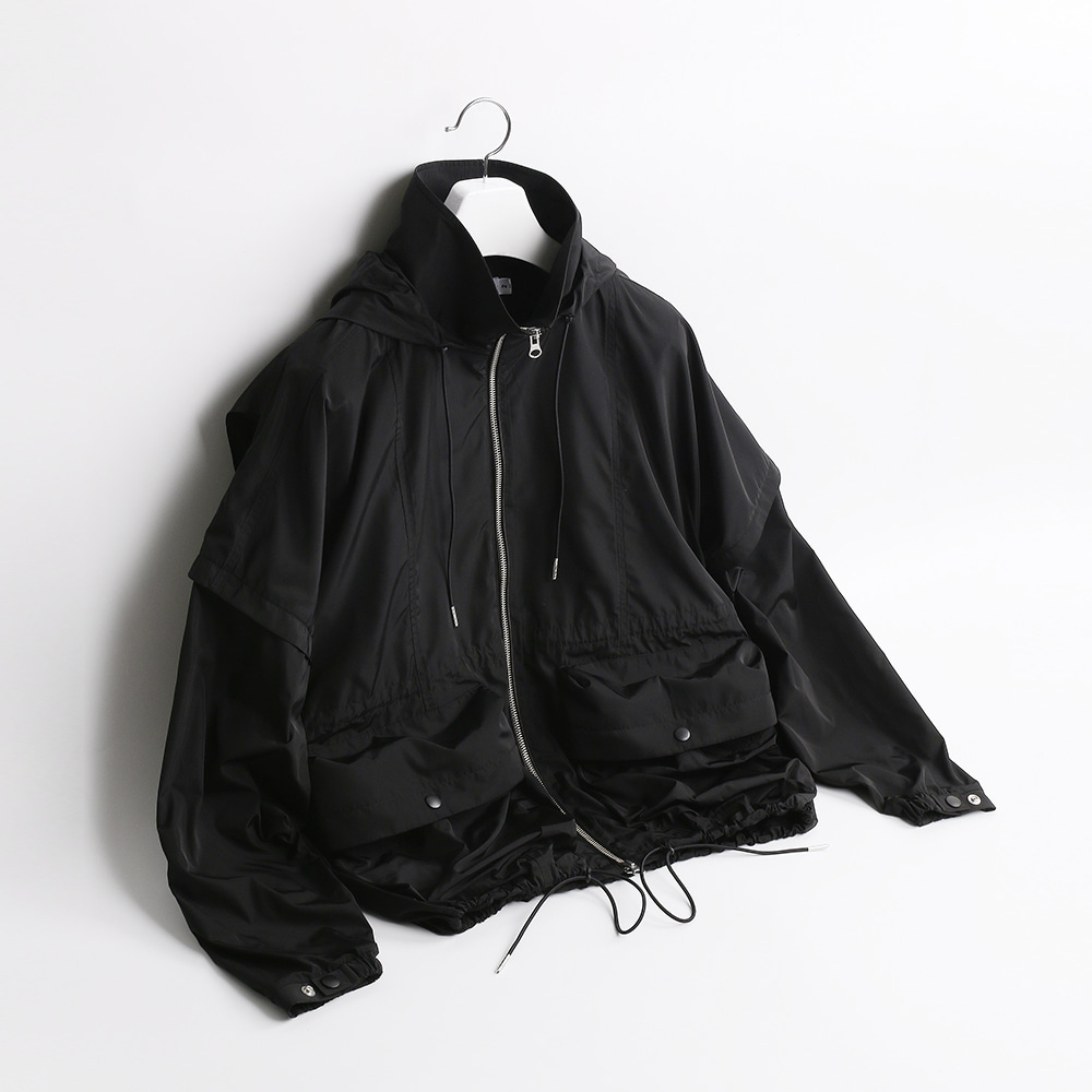 ATE STUDIOVolume Hooded Cover Jacket(Black)