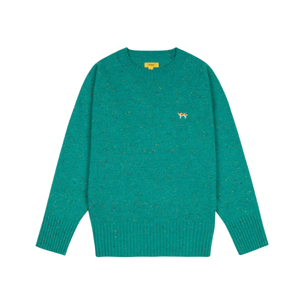THE RESQ & COBarry Embroidery Sweater(Turquoise Blue)