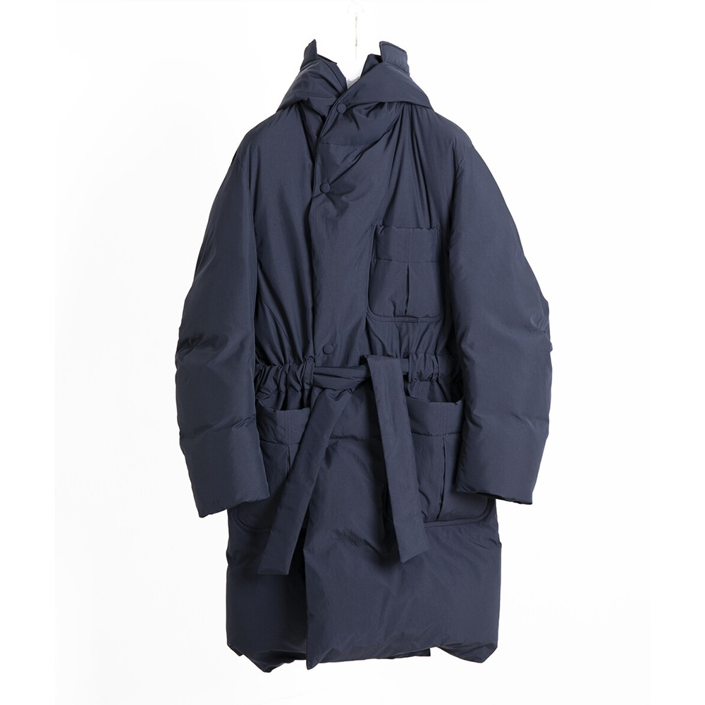 DOCUMENTGoose Down Robe Hood Coat(Navy)