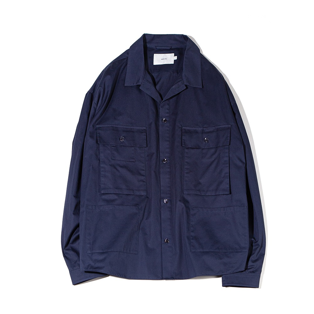 OURSELVESSatin Cotton B.D.U Shaket(Navy)