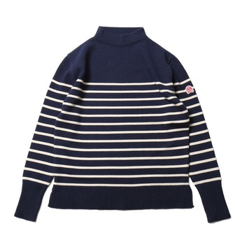 HORLISUNTedburn Mock Neck Stripe Knit(Royal Navy)