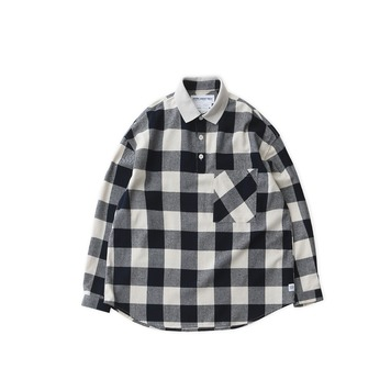 DAILY INNLobby Boy Pique Flannel Oversized Shirt(Buffalo Navy)
