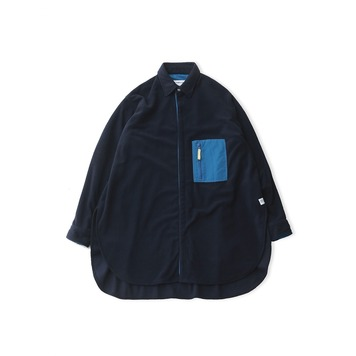 DAILY INNDoor Man Micro Fleece Oversized Long Shirt Jacket(Navy)