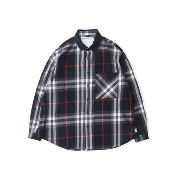 DAILY INNLobby Boy Sports Collar Flannel Oversized Shirt(Navy Check)