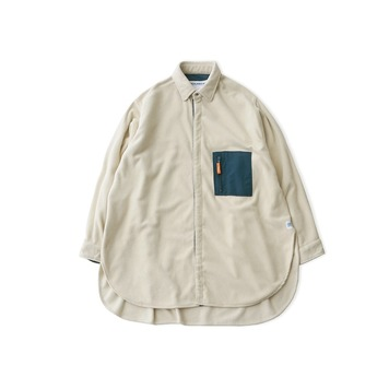 DAILY INNDoor Man Micro Fleece Oversized Long Shirt Jacket(Cream)