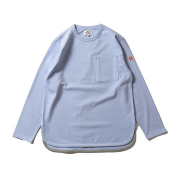 HORLISUNEmery Long Sleeve Pocket Seasonal T-shirts(Light Blue)10% Off