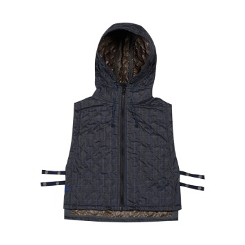 TOEQuilted Hoodie Vest(Navy Check)