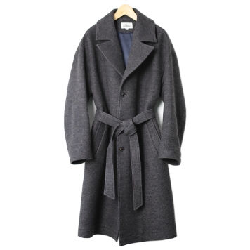 KICK THE BEATUnisex Belted Wool Coat(Charcoal)