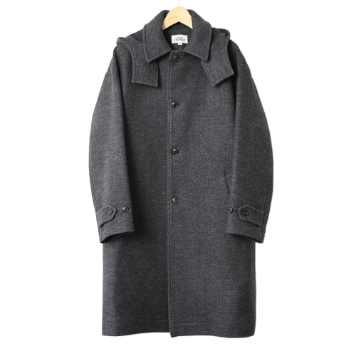 KICK THE BEATUnisex Hooded Wool Coat(Charcoal)