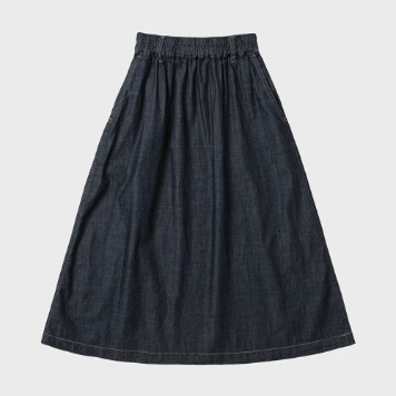 CHIQUITACotton Pleats Skirt(Indigo)