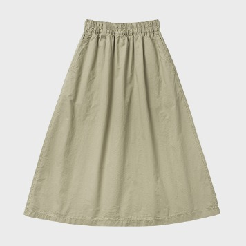 CHIQUITACotton Pleats Skirt(Beige)