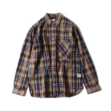 HORLISUNMaili Seersucker Check Loose Fit Shirts(Navy)