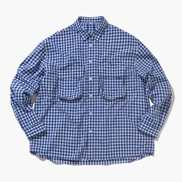 SOFTUR*RESTOCK*Gingham Wide Shirt(White/Blue)