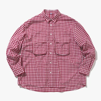 SOFTUR*RESTOCK*Gingham Wide Shirt(White/Red)