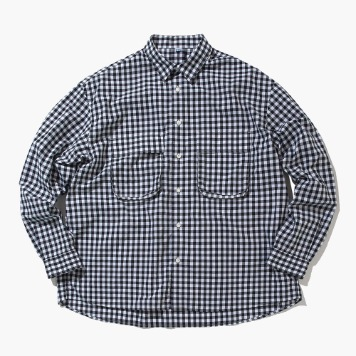 SOFTUR*RESTOCK*Gingham Wide Shirt(White/Black)