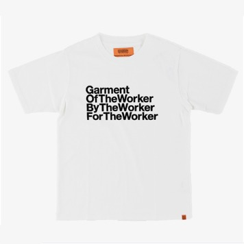 UNIVERSAL OVERALLUnisex The Worker  Graphic T(White)
