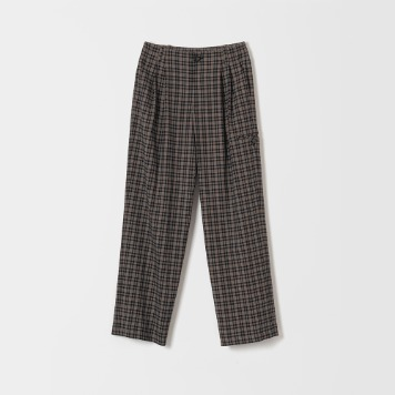 DONA DONAMid Rise Wide Pants(Brown Plaid)