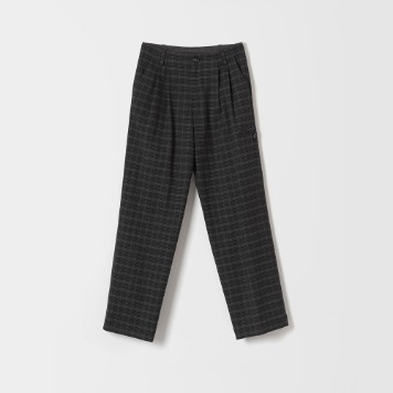 DONA DONAMid Rise Wide Pants(Charcoal Plaid)