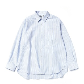 KICK THE BEAT X TEXT SLNC*RESTOCK*Unisex Relaxed Oxford Shirts(Blue Candy Stripe)