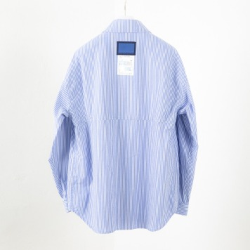 DOCUMENTBack Logo Striped Shirt(Blue)