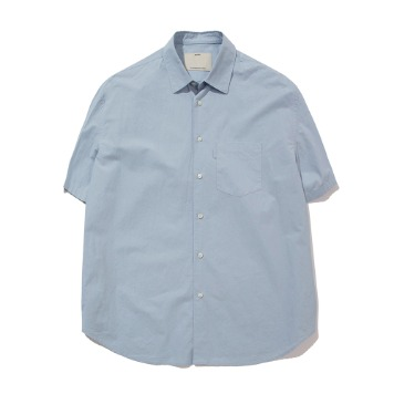 POTTERYShort Sleeve Comfort ShirtCotton / Linen Typewriter Cloth Resilient Hard Finish(Sax)
