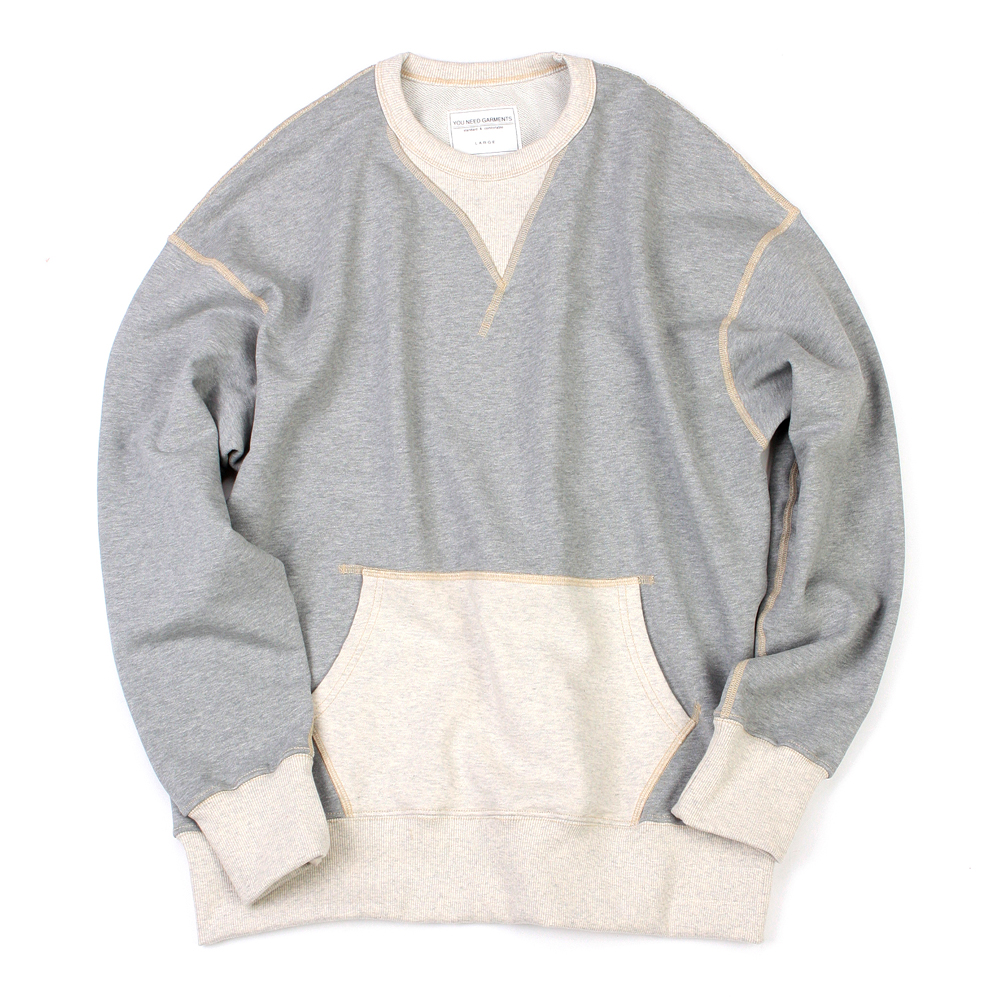 YOU NEED GARMENTSVintage Pocket Sweatshirt(Grey)30%Off