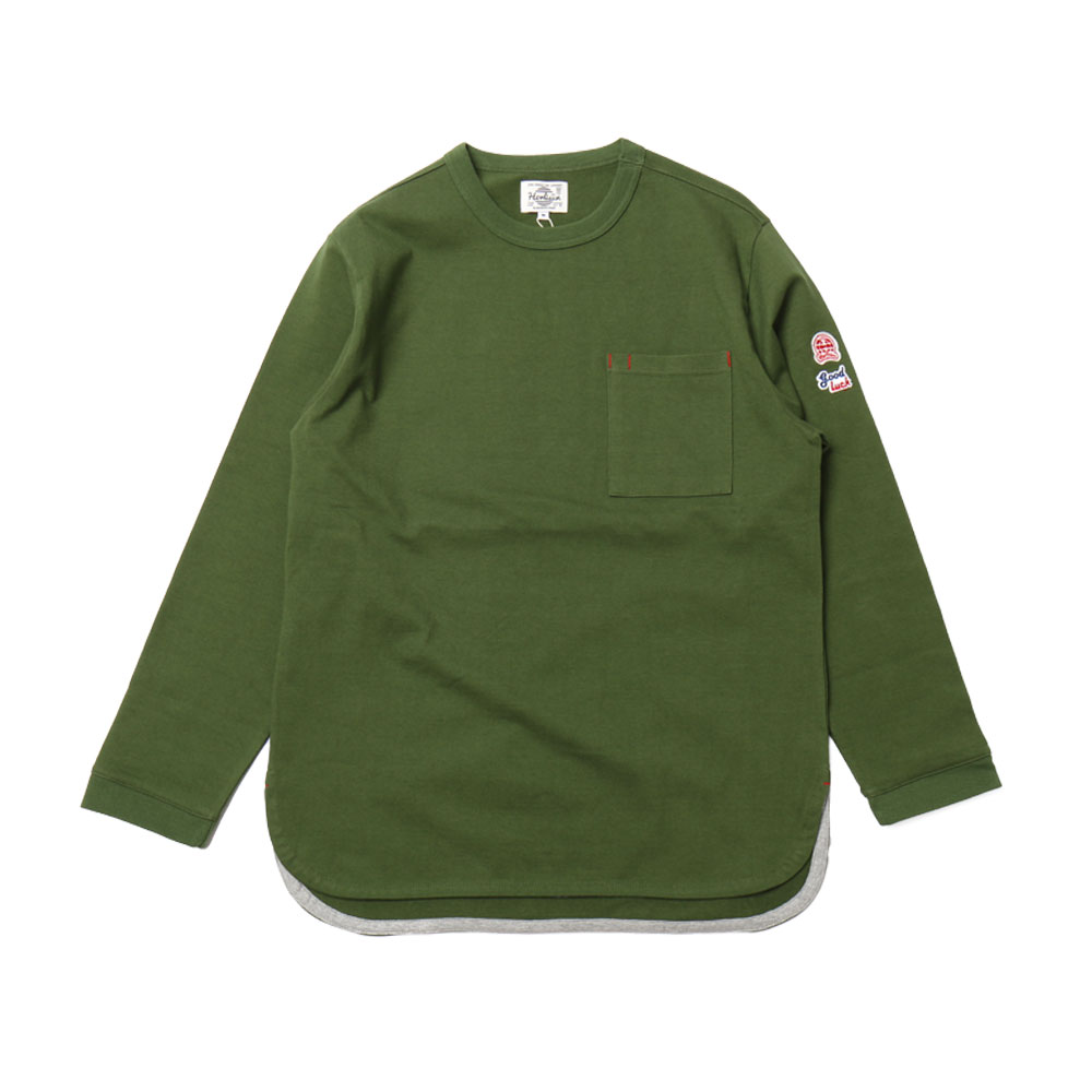 HORLISUN x GOOD NIGHT & GOOD LUCKEmery Long Sleeve Pocket T(Olive 803)