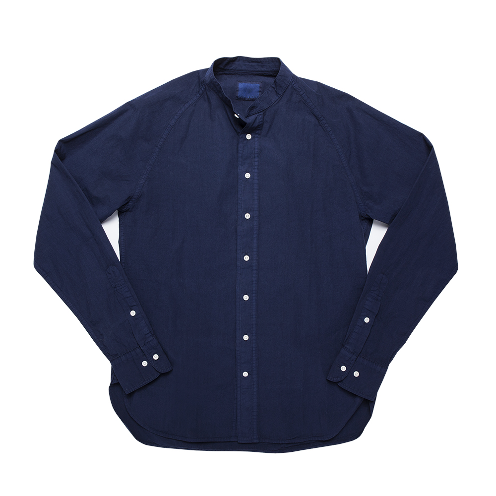 DOCUMENTGarment Dyed Collarless Shirt(Blue)