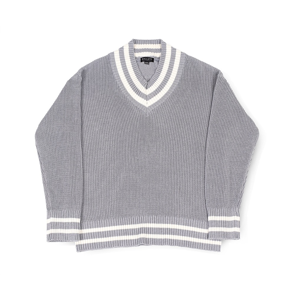 BALLUTEV Neck Cricket Knit(Grey)30% Off