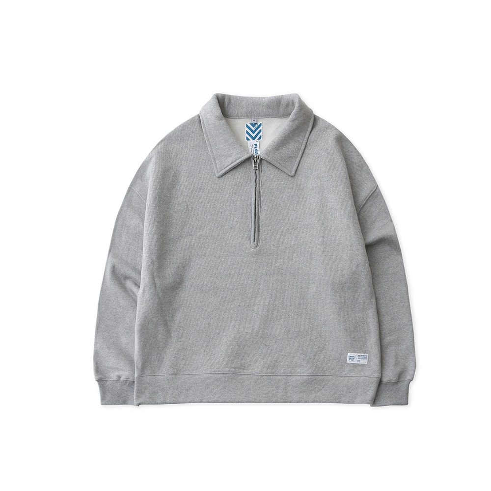 DAILY INNUnremixed Heavy Weight Oversized Half Zip-Up Sweat(Melange Grey)