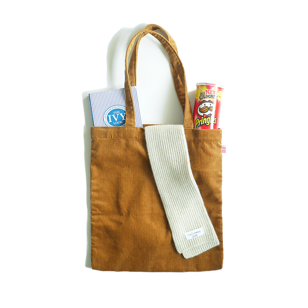 KICK THE BEATCord Tote Bag(Camel)30% Off