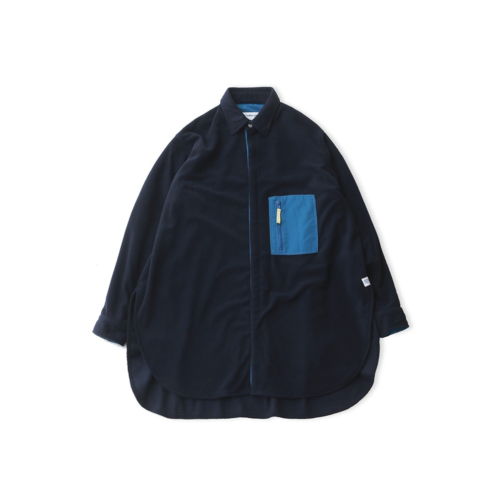 DAILY INNDoor Man Micro Fleece Oversized Long Shirt Jacket(Navy)30% off