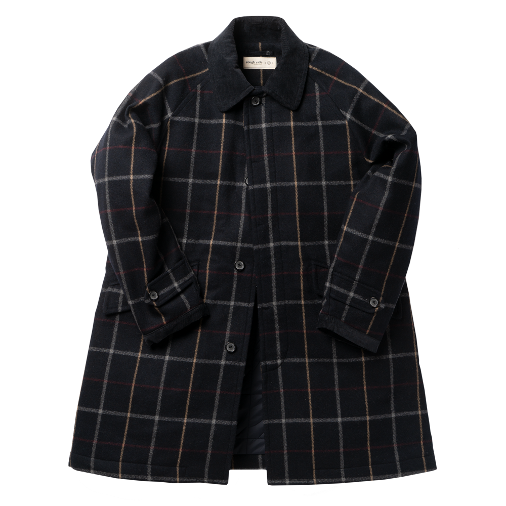 ROUGH SIDEWool Plaid Balmacaan Coat(Navy)30% Off