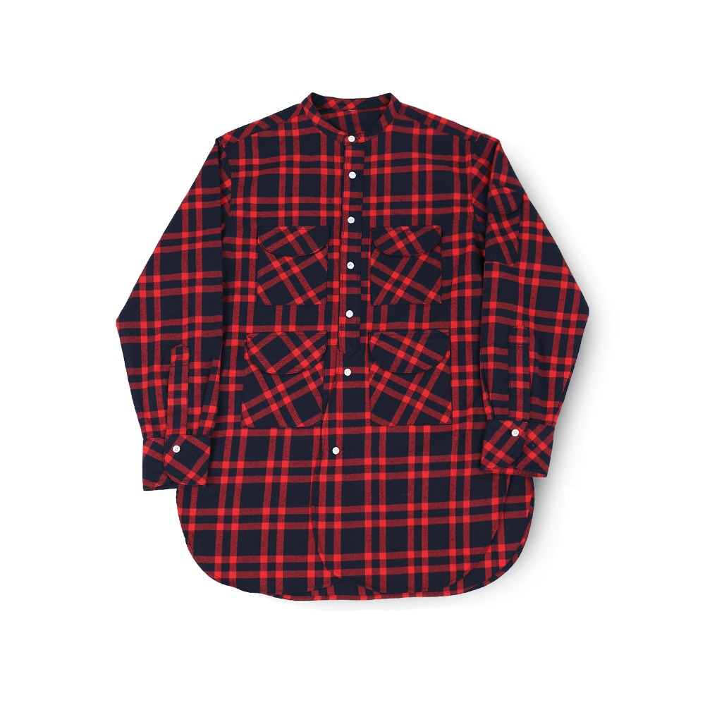 BALLUTEFisherman Tunic Shirt(Red Tartan)30% Off