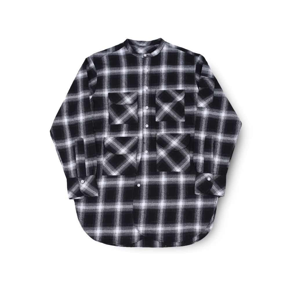 BALLUTEFisherman Tunic Shirt(Grey Check)30% Off