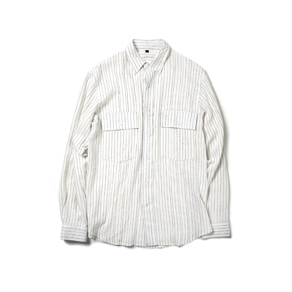 BALLUTE2 Pocket Tuxedo B.D Shirt(Stripe)30% Off