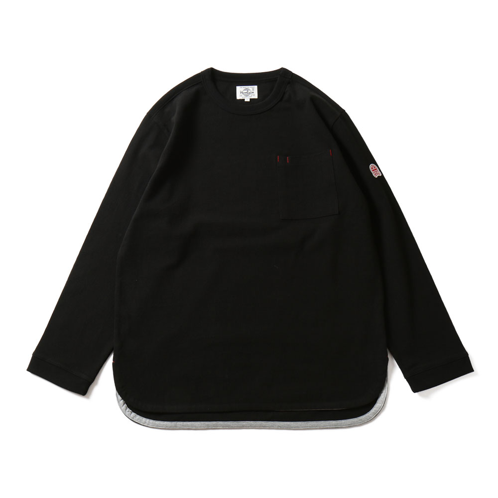 HORLISUNEmery Long Sleeve Pocket Seasonal T-shirts(Black)